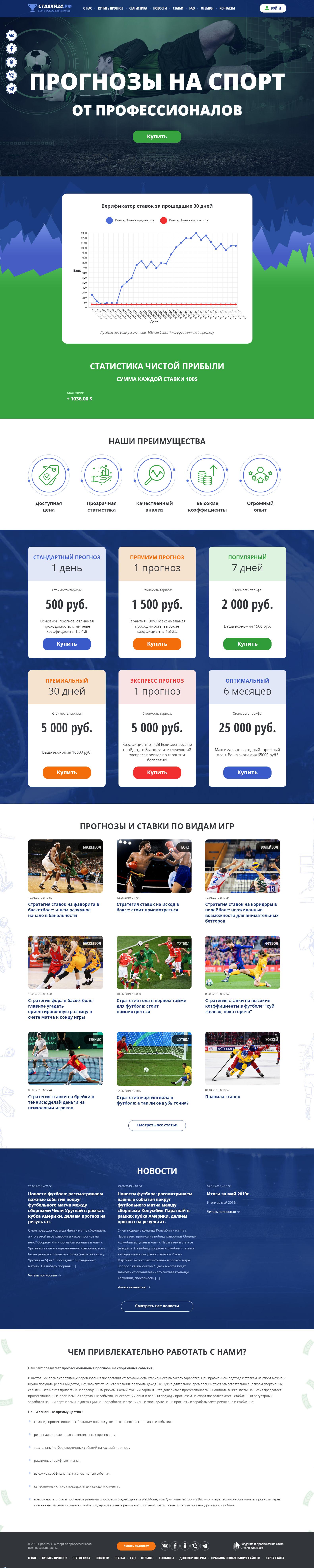 Прогнозы и ставки на спорт - Главная страница